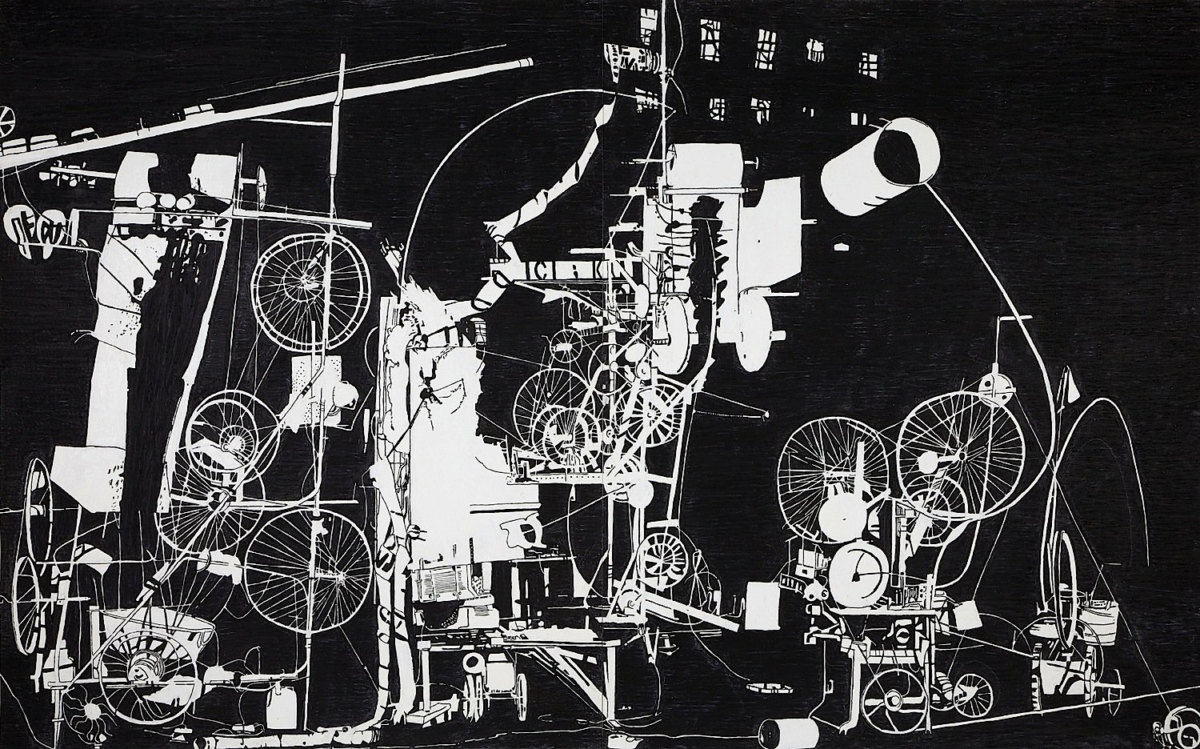 Abb. 3 Michael Landy, H.2.N.Y. Tinguely Machine Erases its own Construction in 27 Minutes, 2007 Ölkreide auf Papier (zweiteilig), 152,5 x 243 cm Courtesy of the artist and Thomas Dane Gallery, London