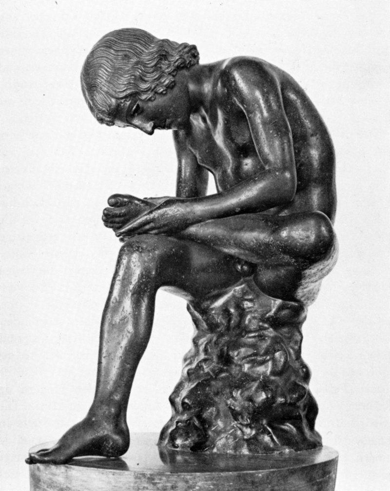 Abb. 1: Sog. Kapitolinischer Dornauszieher, 1. Jh. v. Chr., Bronze, 0,73 m (ohne Plinthe), Kapitolinische Museen, Rom. In: Werner Fuchs: Die Skulptur der Griechen, München 1983, Abb. 316.