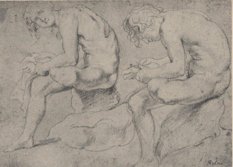 Abb. 2: Peter Paul Rubens, Zeichnungen nach dem Dornauszieher, ca. 1601/02, Rötel, weiß gehöht, 201 x 360 mm, British Museum, London. In: Gustav Glück, Franz Martin Haberditzl (Hg.): Die Handzeichnungen von Peter Paul Rubens, Berlin 1928, Abb. 27.