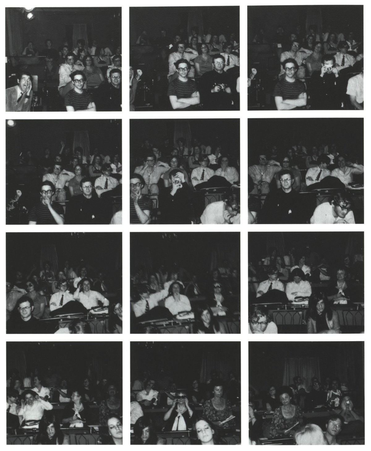 Abb. 1 Vito Acconci: Twelve Pictures, 1969, The Theatre, New York City. Bildfolge nach dem Abdruck in Avalanche 6 (1972), S. 44. © Vito Acconci.