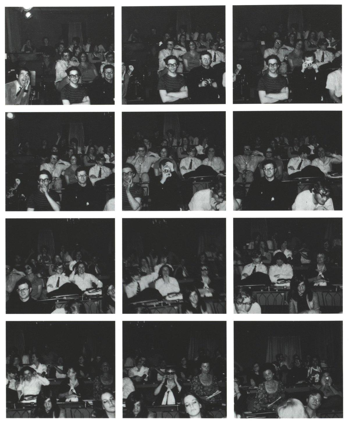 Abb. 1 Vito Acconci: Twelve Pictures, 1969, The Theatre, New York City. Bildfolge nach dem Abdruck in Avalanche 6 (1972), S. 44. © Vito Acconci.