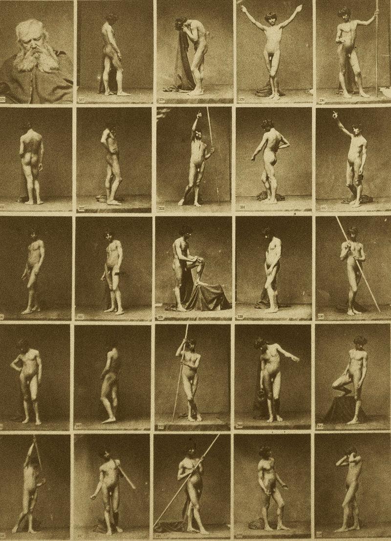 """Bildquelle: Universität der Künste, Universitätsarchiv, M I 1, U.A.,86,0017,65. """"Act-Aufnahmen für Bildhauer und Maler"""", Katalogblatt zu Coll. F., vor 1880, Albuminpapierabzug mit 25 Vignetten, 26,8 x 19 cm."""