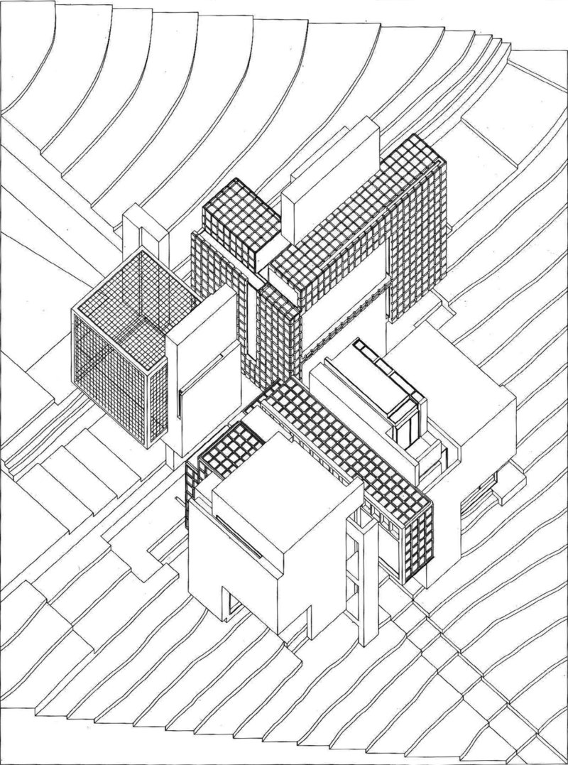 Abb. 1: Peter Eisenman: Axonometrischer Riss für House X, 1975, geplant für ein Grundstück in Bloomfield Hills, Michigan (USA), in Auftrag gegeben von den Eheleuten Aronoff, Projekt nicht realisiert. In: Peter Eisenman: House X, New York 1982, S. 159.