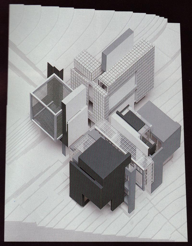 Abb. 2: Peter Eisenman: Axonometrisches Modell für House X, 1978, Modellbauer: Sam Anderson. In: Peter Eisenman: House X, New York 1982, S. 163.