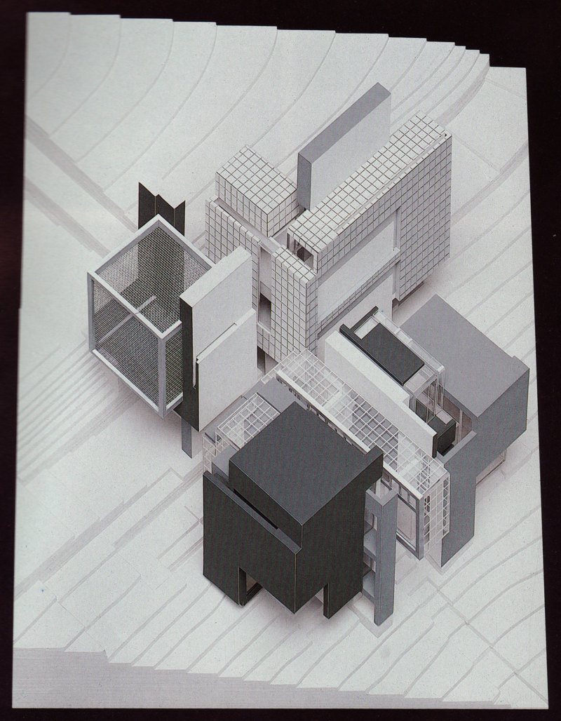 Abb. 2: Peter Eisenman: Axonometrisches Modell für House X, 1978, Modellbauer: Sam Anderson. In: Peter Eisenman: House X, New York 1982, S. 163.